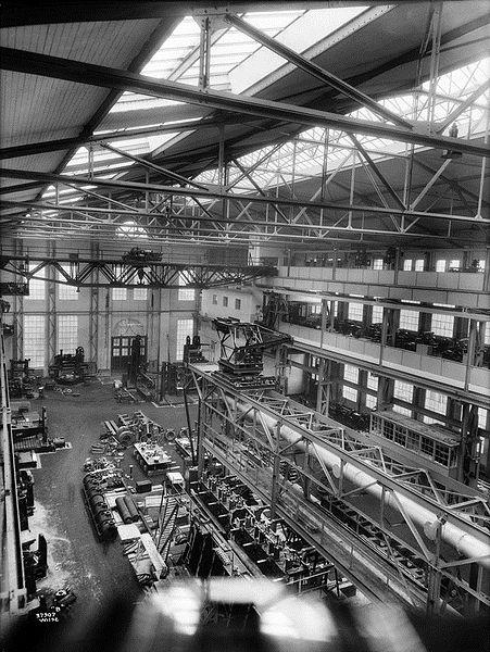 Verkstedhall, Akers mekaniske verksted ca 1925